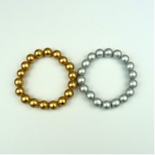 Gold and Silver Wood Bead Bracelets
