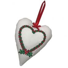 Holly Wreath - Padded Heart