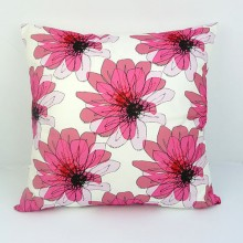 Distorted Pink Flowers Cushion