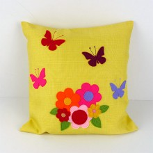 Flowers and Butterflies Applique Cushion - Yellow