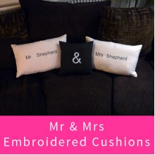 'Mr and Mrs' Embroidered Cushion Cover Set