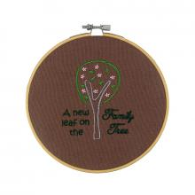 A New Leaf on the Family Tree Embroidered Hoop
