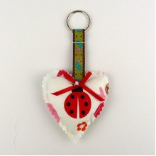 Padded Heart Keyring - Ladybird