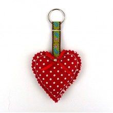 Padded Heart Keyring - Polka Dot