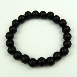 Black 10mm Wood Bead Bracelet