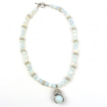 Owl Pendant Necklace- Opalite