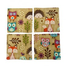 Woodland Fabric Coaster Set