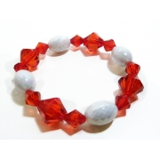 Red and White Bead Bracelet