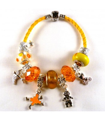 Yellow Leather Charm Bracelet