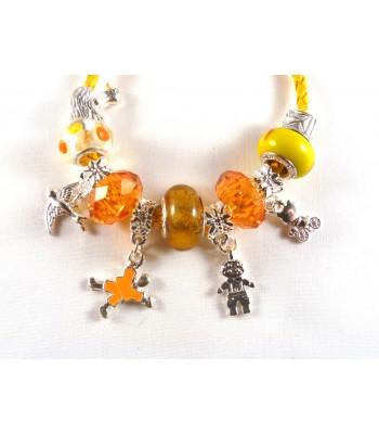 Yellow Leather Charm Bracelet