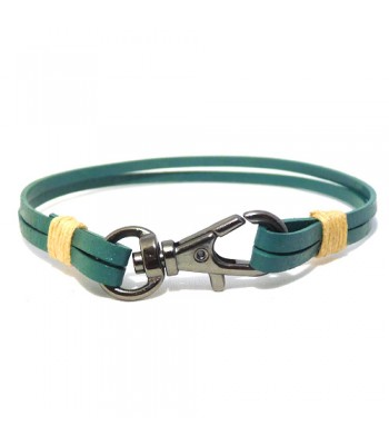 Men's Green Leather Bracelet