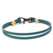 Men's Green Leather Bracelet