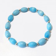 Blue Oval Glass Bead Bracelet