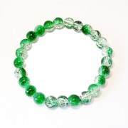 Green and Clear Crackle Bead Bracelet