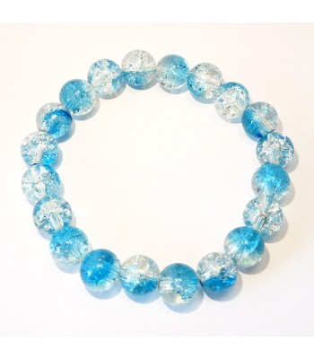 Blue and Clear Crackle Bead Bracelet