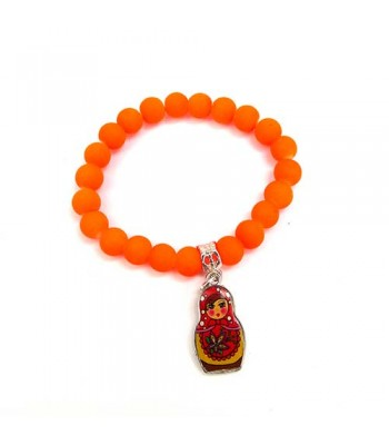 Bright Orange Bracelet with Russian Doll Charm