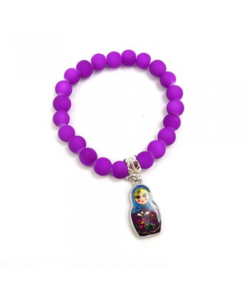 Neon Purple Bracelet with Russian Doll Charm