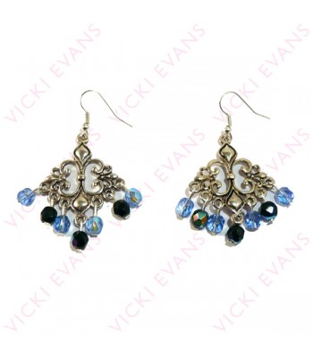 Chandelier Earrings - Blue and Black