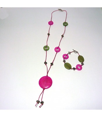 Pink and Green Donut Jewellery Set