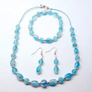Blue and Clear Crackle Bead Jewellery Set