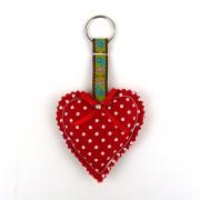 Padded Heart Keyring - Polka Dot