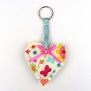 Padded Heart Keyring - Butterflies